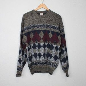 Vintage Windridge Diamond Print Sweater sz Large